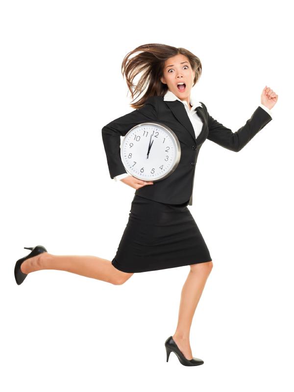 Stress - business woman running late