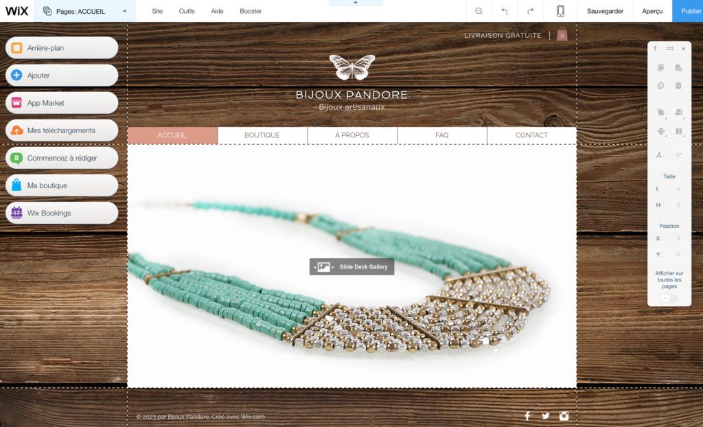 écran wix pour bijoux